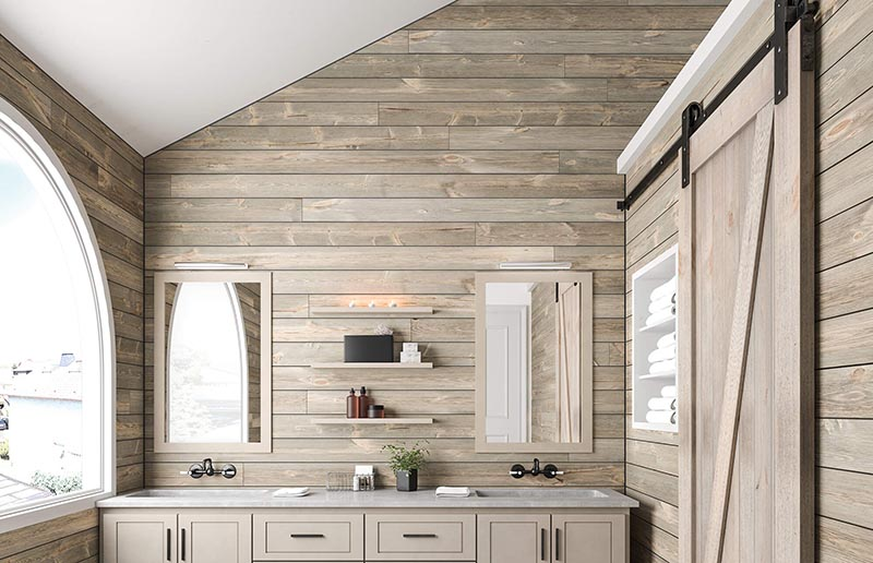 bardage bois dans salle de bain